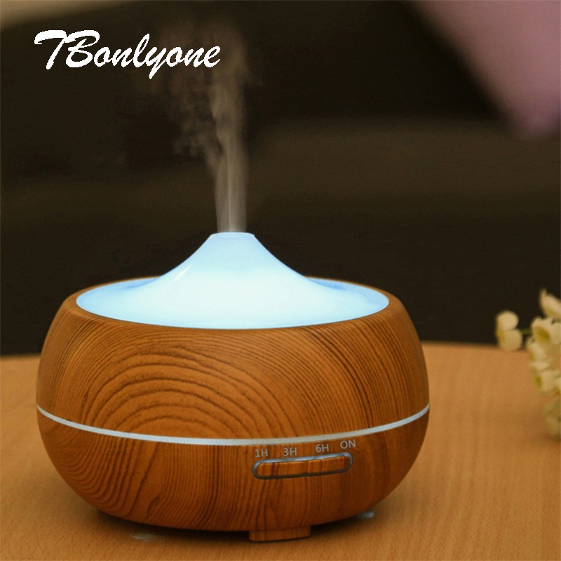 TBonlyone 300ML Air Humidifier Essential Oil Diffuser Aroma Lamp Aromatherapy Electric Aroma Diffuser Mist Maker for Home-Wood new 300ml woodgrain essential oil aroma diffuser aromatherapy humidifier mist maker purifier 3 models