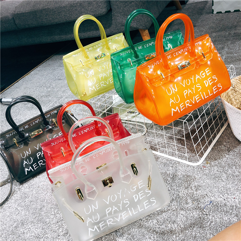 Clear Transparent PVC Candy Color Jelly Crossbody Handbag