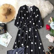 Vintage A-Line Dot Chiffon Dress Women 3/4 Sleeve Holiday Wind Slim Three Quarter Fashion Printed V-Neck