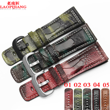 Laopijiang Reloj accesorios avestruz importación pie de Cuero Correa de reloj con 28mm adaptador M1 P1 P2