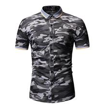 Casual Blouse Men Short-sleeved Camouflage Shirt Lapel collar Fashion Flower Mens Summer