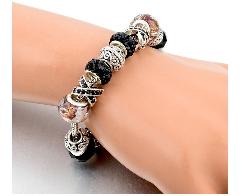CHICVIE Black Crystal Chain Link Bracelets For Women Female Charm Custom Bracelets & Bangles DIY Silver Color Jewelry SBR160014 15
