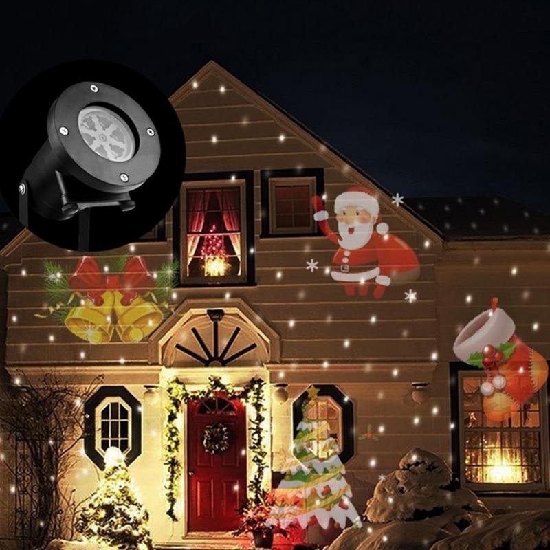YAM IP65 Waterproof EU/US/UK/AU Plug Projector Rotating Landscape Lamp 12 Switchable Pattern 4 Pcs LED Spotlight Christmas Party