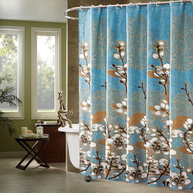 Retro Magnolia Pattern Flower Fabric Shower Curtains Liner for ...