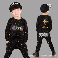 New Fashion Kids Teenage Boys Pringted Clothing Sets Hip Hop Sports Suits Causal Tops Harem Pants
