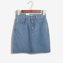 2017 Women'S Kawaii Aa Fashion Vintage Single-Button Denim Skirt Female Japanese Harajuku High Waist Vintage Jeans Skirt