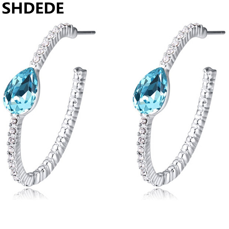 0227d061a SHDEDE Vintage Fashion Jewelry For Women Crystal from Swarovski Hoop  Earrings Accessories Female Birthday Gift -