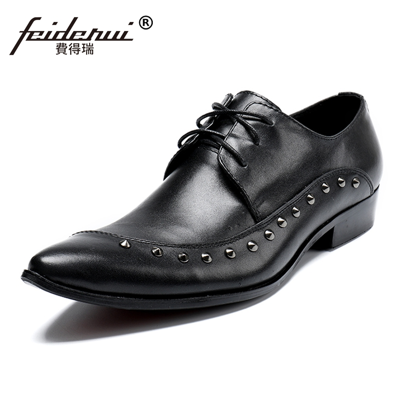 Plus Size Italian Pointed Toe Derby Man Modern Footwear Luxury Genuine Leather Wedding Party Men's Studded Runway Shoes SL169 plus size fashion pointed toe derby man runway footwear italian designer patent leather wedding party men s runway shoes sl435