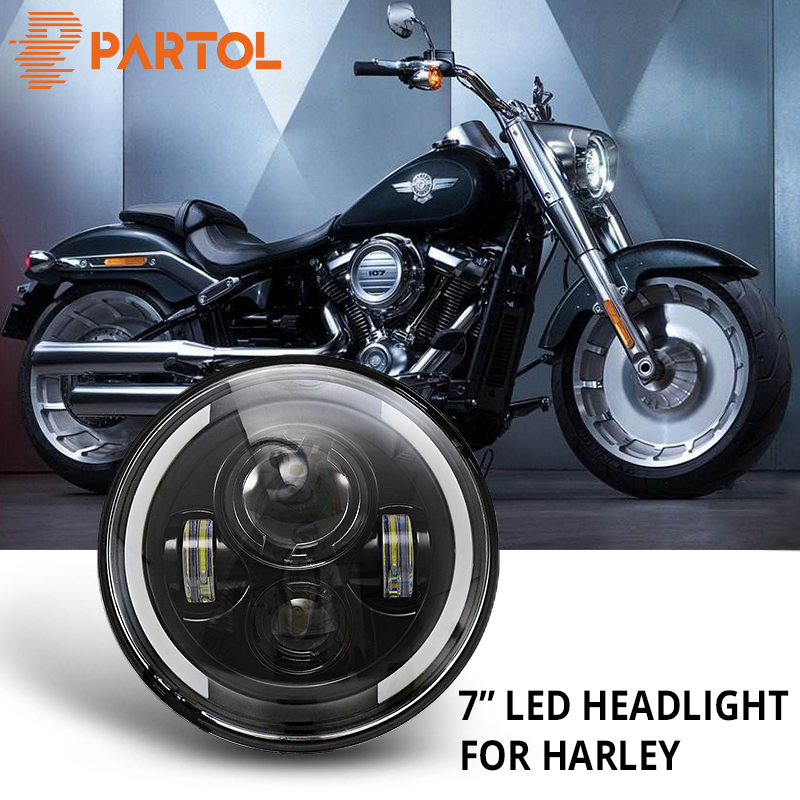 Partol 7 Motorcycle LED Headlight 60W H4 H13 High Low Beam DRL Daytime Running Light 6500K 12V For Harley FLD Touring Softail