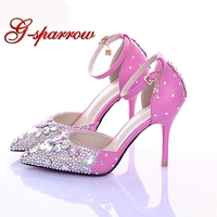 2018 Luxurious Lady Diamond Wedding Shoes Pink Crystsal High Heel Bridal Shoes Sexy Pointed Toe Ankle Strap Prom Shoes