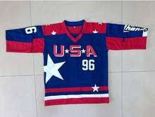 1006c8b3e Mighty Ducks Movie Team USA Hockey Jerseys #96 Charlie Conway Mens  Throwback Ice Hockey Jersey
