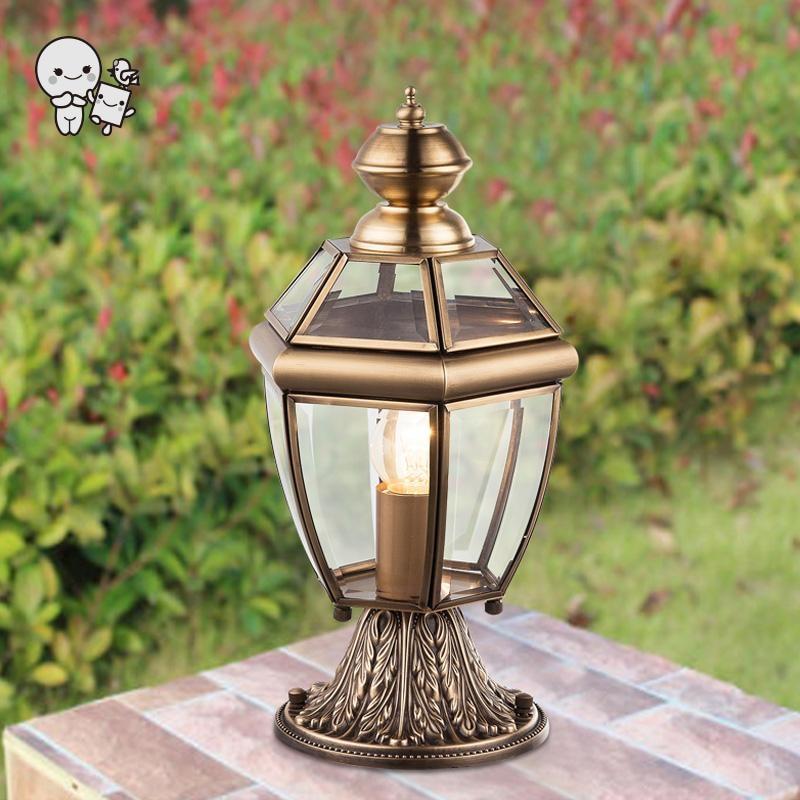 Outdoor Bronze Copper Landscape Lighting Fixture Waterproof Art Deco Vintage Luxury Pillar Pole Lamp Garden Columns E14 Bulb
