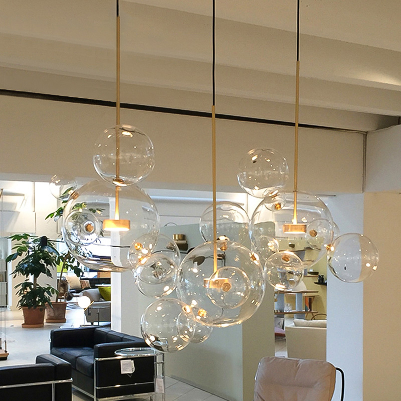 Nordic simplicity LED pendant light Creative personality postmodern living room restaurant bedroom bubble ball led pendant lamp modern circle tree branch led pendant light creative personality firefly dia 210cm nordic living room restaurant hall lobby lamp