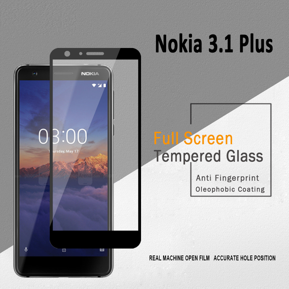 3D Full Glue Tempered Glass For Nokia 3.1 Plus Full Cover 9H Protective Film Screen Protector For Nokia 3.1 Plus X3