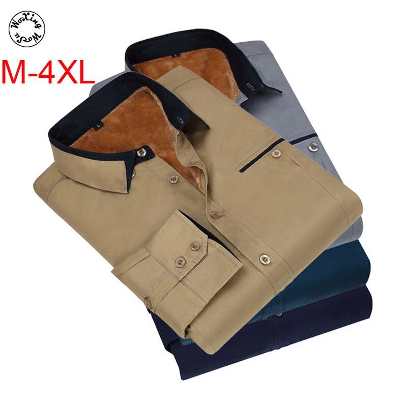 Woxingwosu cotton men add wool warm shirts korean version slim body more bigger sizes business shirts size M to 4XL