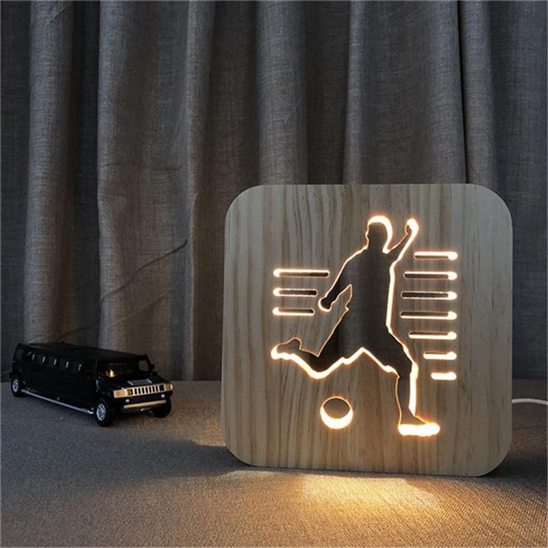 Wooden Sports 3D Night Light DIY Customize Lamp Football Basketball Volleyball Baseball Table Lamp Friends Birthday Trophy Gift