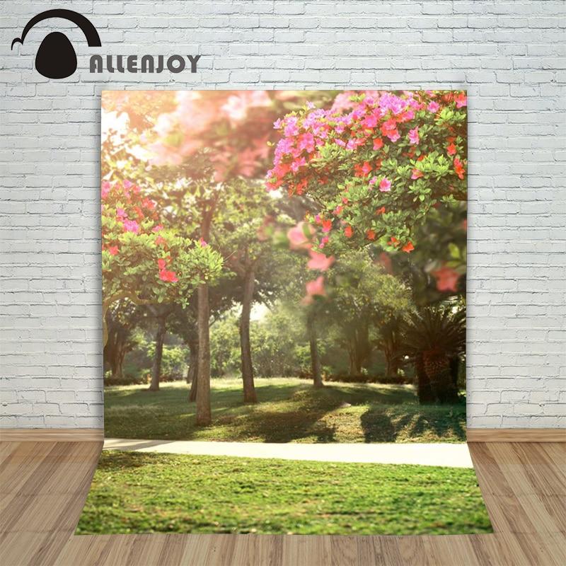 Allenjoy photography spring backdrops Lawn flower garden trees wedding sunlight background photography for studio custom size  недорого