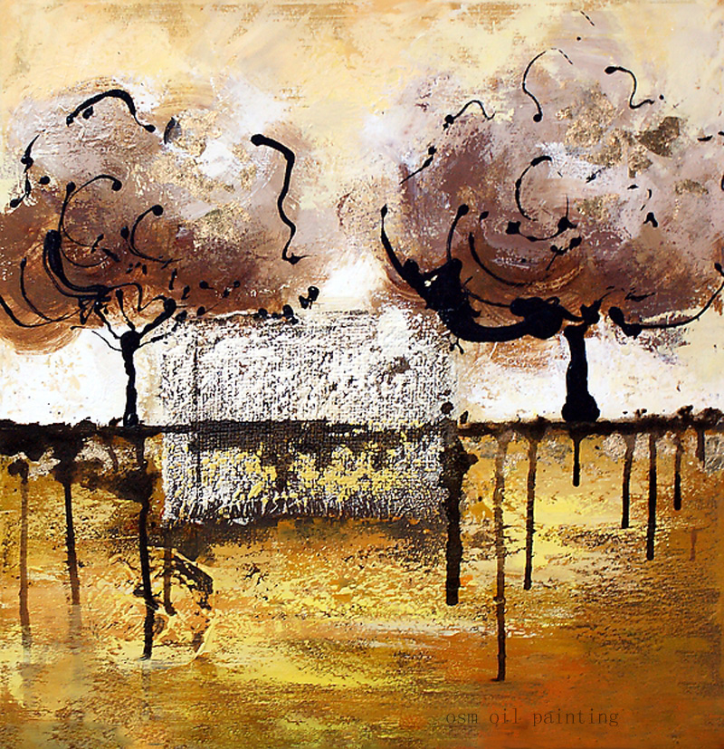 ᐃTop Hand-painted Modern Abstract Landscape Trees Oil Painting on ...