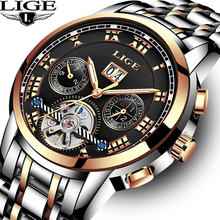 LIGE Brand Watch Men Top Luxury Automatic Mechanical Stainless Steel Hodinky Clock Business Watches Relogio Masculino +Box