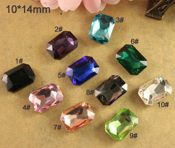 12pcs/lot 10*14mm Square Glass Crystal Beads Faceted Point Back Fancy Stone U Choose Color Shiny Wide Selection;