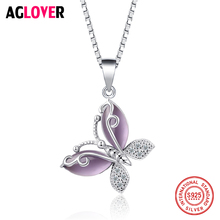 цена 925 Sterling Silver Jewelry Necklace Inlay AAA Crystal Women's Butterfly Pendant Necklace онлайн в 2017 году
