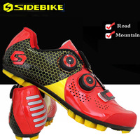 SIDEBIKE MTB Cycling Shoes Men Road Bike Ultra light carbon fiber Sole Self Locking Bicycle Sport Shoes Zapatillas Ciclismo RED