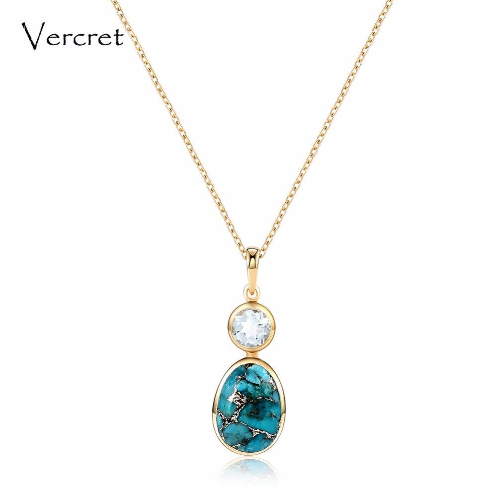 Collier pendentif turquoise en pierre naturelle à la mode en or 18 k collier bijoux en argent 925 pour femmes cadeau prévente