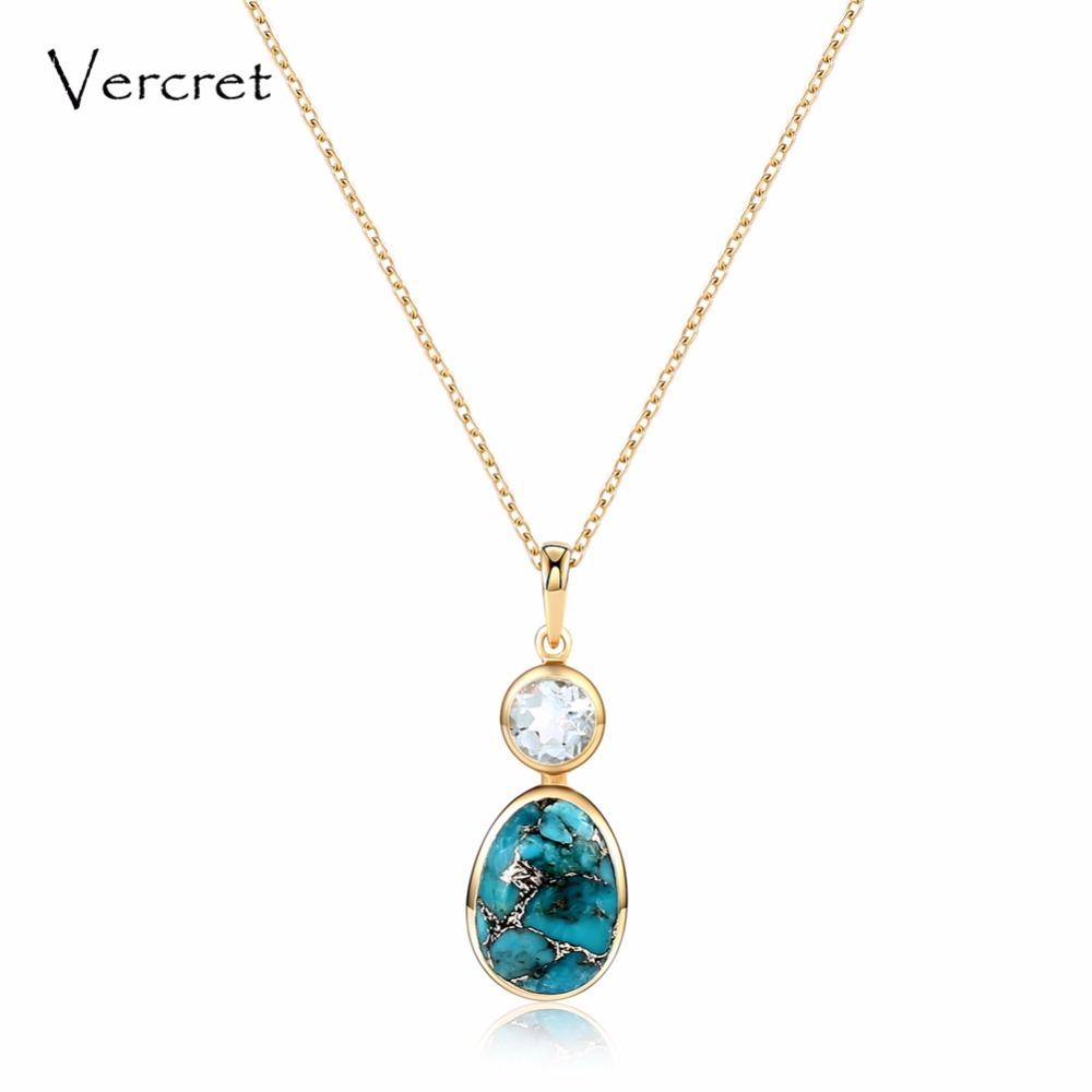 Vercret trendy natural stone turquoise pendent necklace 18k gold silver 925 jewelry necklace for women gift presale retro tiered rectangle faux turquoise multilayered necklace for women