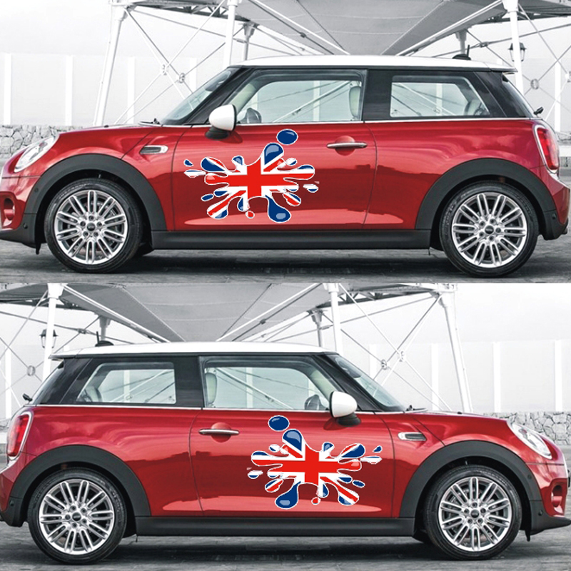 Union Jack Style Fender Door Side Skirt Decals Stickers DIY For Mini Cooper R50 R53 R56 R55 F56 F55 R60 Countryman Car Styling sun protection cool hat car logo for mini cooper s r53 r56 r60 f55 f56 r55 f60 clubman countryman roadster paceman car styling