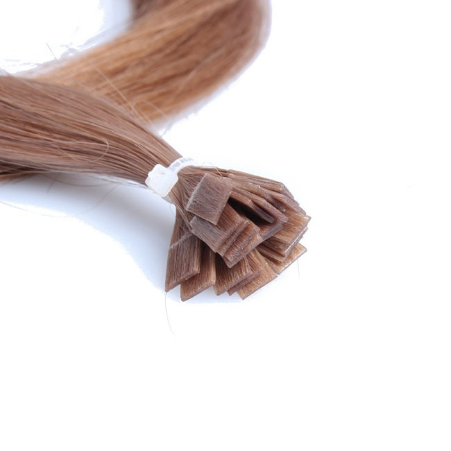 10 Medium Ash Brown Straight Flat Tip 100 Remy Hair Flat Pre Bonded