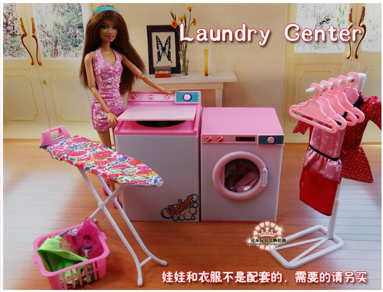 New Baby Toys Doll Accessories House Furniture Girl Birthday Gift Plastic Play Set Dry Cleaners Laundry Center For Barbie Doll