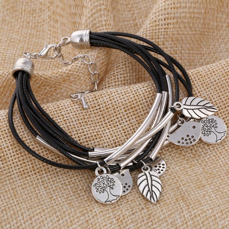 MINHIN Black/Brown/Beige Colors Multi Layers Leather Bracelet Women Handmade Charm Bangle Mini Birds Pendant Wrist Bracelet