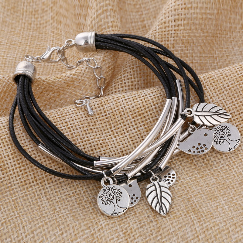 Us 2 1 Minhin Black Brown Beige Colors Multi Layers Leather Bracelet Women Handmade Charm Bangle Mini Birds Pendant Wrist In