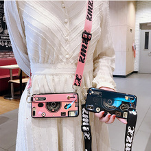 Trendy Digital camera wrist strap case phone for iphone xs max xr 8 6 s 7 plus neck lanyard wristband holder cover blu-ray coque