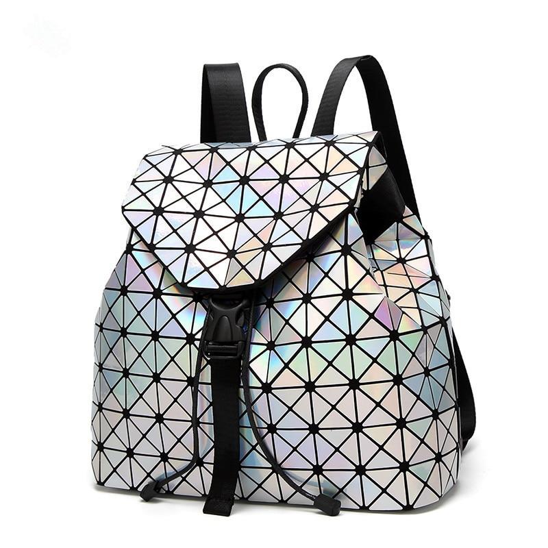 Japan B Women Backpack Geometric Plaid Sequin Female Backpacks For Teenage Girls Bagpack Drawstring Bag Holographic Backpack
