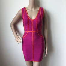 Hohe Qualität V-ausschnitt Ärmellose Mini Bandage Kleid Verband-kleid-cocktailparty-nettes Bodycon Kleid