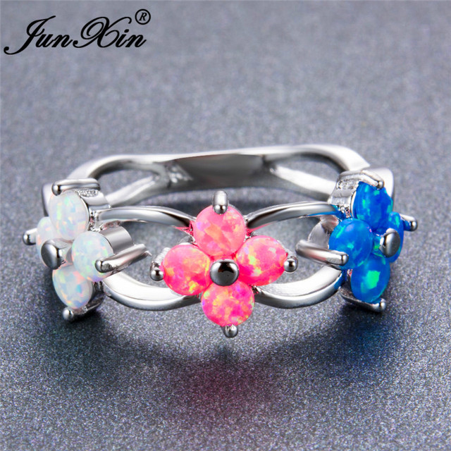 junxin exquisite 925 sterling silver filled flower shape rainbow wedding ring round whitepink - Rainbow Wedding Rings