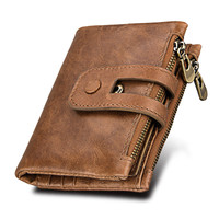 Hot Wallet Men Leather Genuine Vintage Coin Purse Zipper Hasp Men Wallets Small Perse Solid RFID
