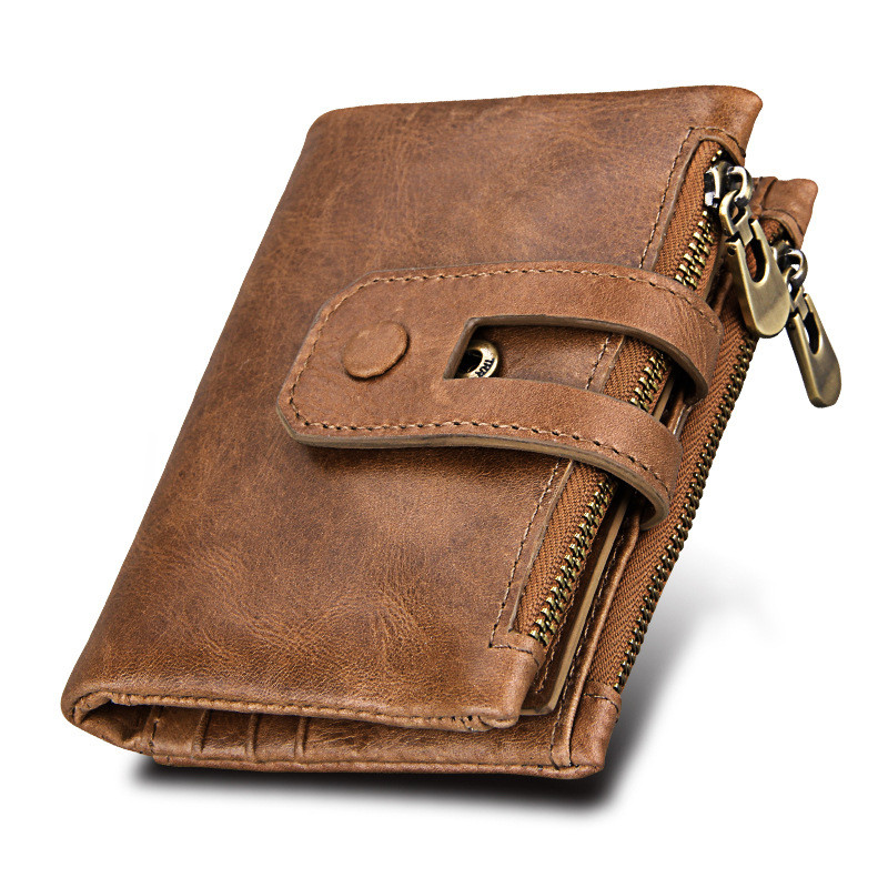 Hot!! Wallet Men Leather Genuine Vintage Coin Purse Zipper&Hasp Men Wallets Small Perse Solid RFID Card Holder Carteira Hombre genuine leather mens wallet black hasp men purse with zipper coin pocket portfolio male short card holder vertical men wallets