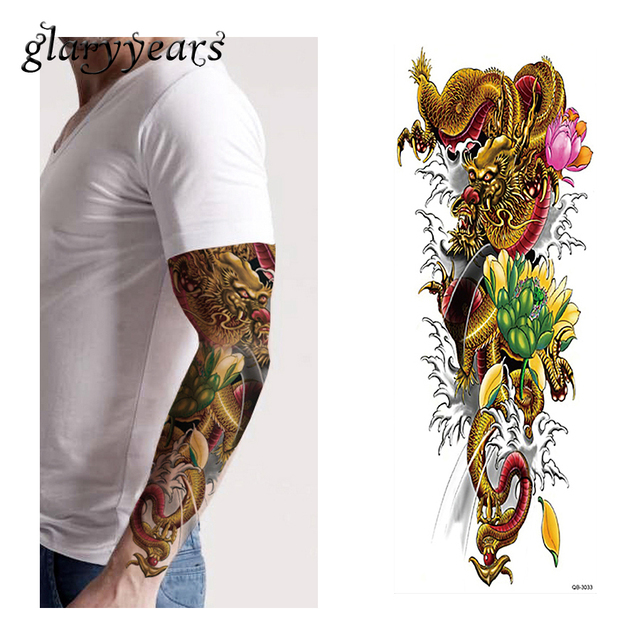 1 Piece Temporary Tattoo Sticker Wave Lotus Dragon Pattern Waterproof Full Flower Arm Body Art Fake Tattoo Sticker Decal QB-3033