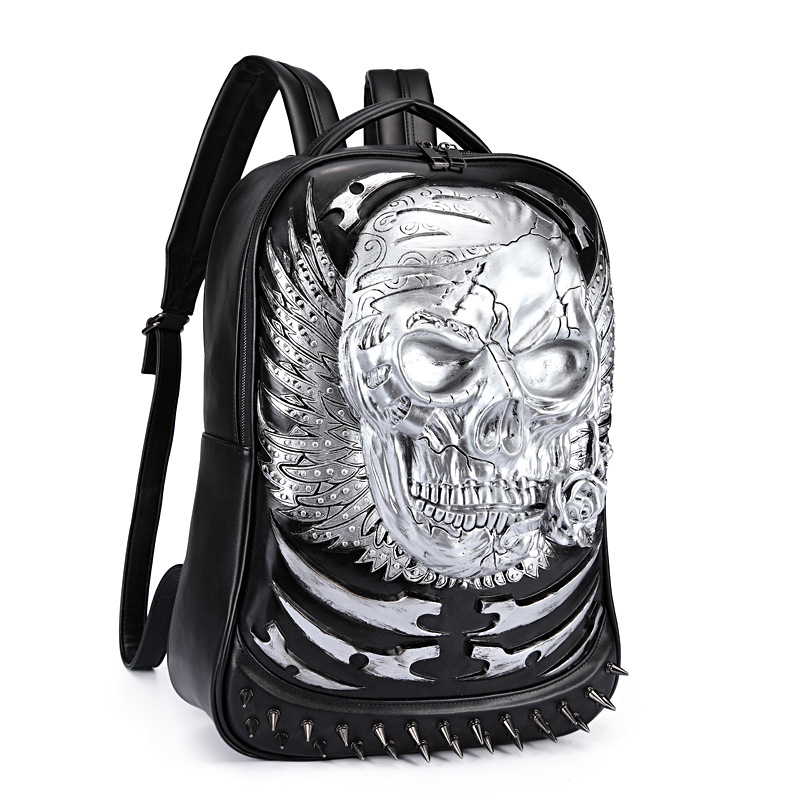 Rivet 3D Skull Skeleton Embossed Shoulder Bag Travel Backpack Restore Halloween Cool Dark Gothic Carving Style Backpack mco large capacity men restore 3d cool lion backpack gothic embossing bag leather shoulder bag with hood cap travel backpack