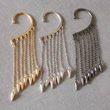 Фотография SBY0936 Fashion Tatto Punk Personality Hanging Single Spike Tassel Ear Cuff Earrings Beauty Jewelry