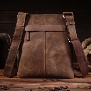 Image 5 - NEWEEKEND Retro Casual Genuine Leather Cowhide Crazy Horse Thin Slight Buckle Shoulder Crossbody iPad Bag for Man 8021 1