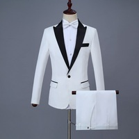 2018 New Brand Suit white and 2style Men suit Stage Singer Wear 2 Pieces Set Slim Fit Wedding Tuxedo Costume Homme(Jacket+pants)
