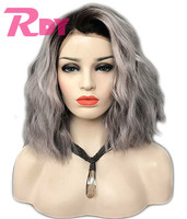 RONGDUOYI 150% Density Ombre Black/Grey Synthetic Wigs for Women Short Wavy Two Tone Color Bob Lace Front Wig with Side Part