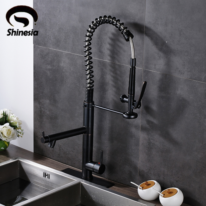 Oil Rubbed Bronze High Spring Kitchen Sink Faucet Single Lever Swivel Spout Mixer Tap with 10 Inch Cover Plate