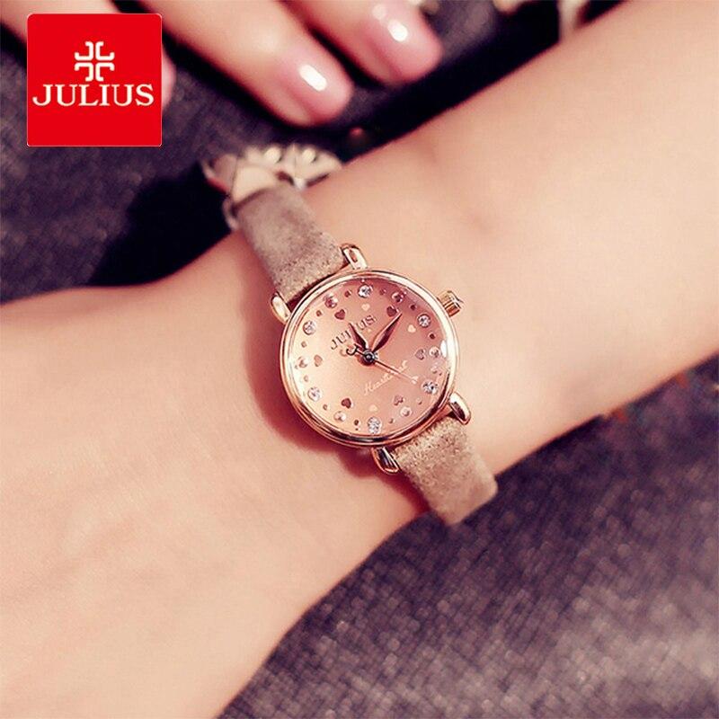 Julius Fashion Love Heart Crystal Ladies Watches Women Leather Strap Bracelet Watches Female Quartz Wrist Watch relogio feminino стоимость
