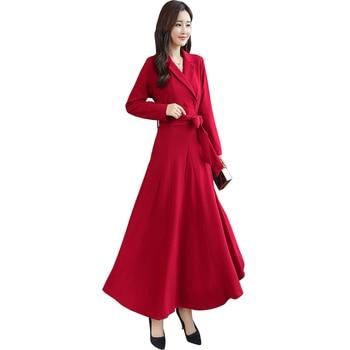 5252eb41b136 Vestido de mujer rojo negro talla grande de moda elegante Otoño Invierno  Vestido de manga larga