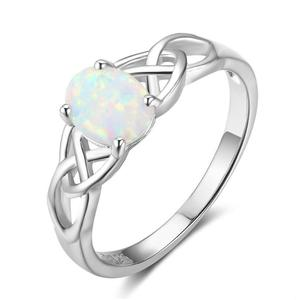 Anenjery Vintage Fashion Setting Opal Stone Gem 925 Sterling Silver Ring For Women Size 6-10 anillos anel S-R322(China)