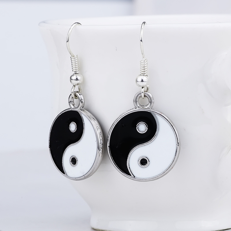 Popular Chinese Style Double Yin And Yang Pendant Earrings For Women Enamel Tai Chi Great Friend Hanging Earrings Dropshipping in Stud Earrings from Jewelry Accessories